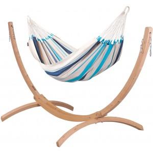 Image of   Caribeña Aqua Blue - Klassisk Single-hængekøje Med Stativ Af FSC-certificeret Grantræ