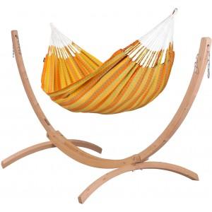 Image of   Carolina Citrus - Klassisk Dobbelt-hængekøje Med Stativ Af FSC-certificeret Grantræ