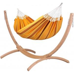 Image of   Currambera Apricot - Klassisk Dobbelt-hængekøje Med Stativ Af FSC-certificeret Grantræ