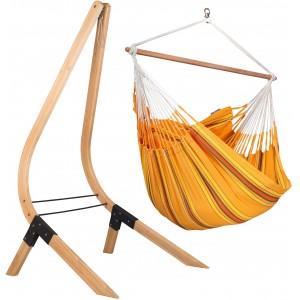 Image of   Currambera Apricot - Lounger-hængekøjestol Med Stativ Af FSC-certificeret Grantræ