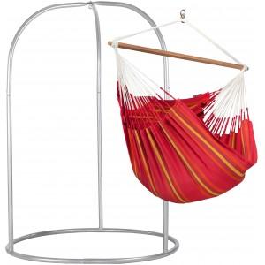 Image of   Currambera Cherry - Lounger-hængekøjestol Med Pulverlakeret Stål- Stativ
