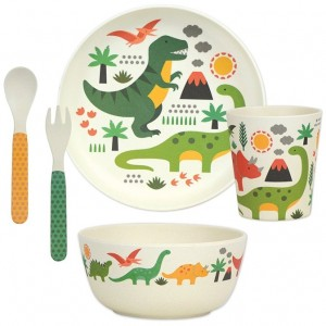 Image of   Bamboo Dinnerware Set Dinosaur