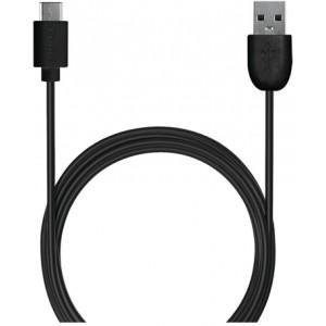 USB-A - USB-C cable, 1m, Black - Ledning